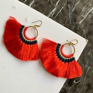 New Red Tassel Statement Earrings